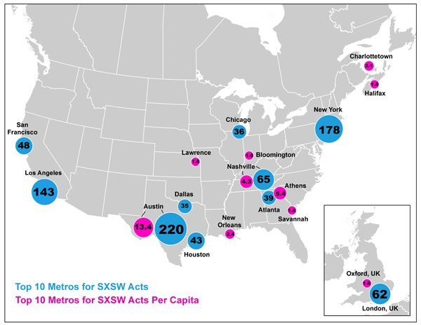 "Map by Zara Matheson of Martin Prosperity Institute. From the article ""What SXSW Can Tell Us About the Geography of Indie Music"" http://www.theatlanticcities.com/arts-and-lifestyle/2013/03/what-sxsw-tells-us-about-geography-indie-music/4836/"