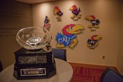 The Big 12 trophy sits in the players lounge on Monday, March 11, 2013, at Allen Fieldhouse. Kansas University earned a share of the title with Kansas State.