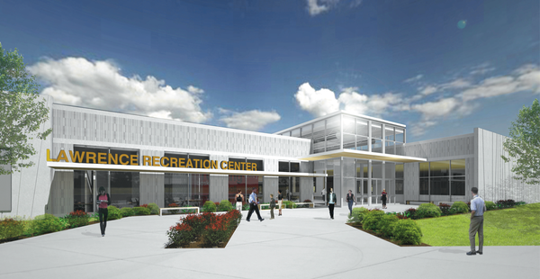 A rendering of the entrance of the proposed city recreation center in northwest Lawrence. 