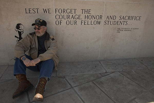 John Musgrave, of Baldwin City and seen here at KU's Vietnam War memorial, is a Vietnam veteran who is featured in documentary filmmaker Ken Burns' series about the war.