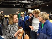 Former state Sen. Jean Schodorf of Wichita speaks Saturday with members of the Douglas County Democratic Party.