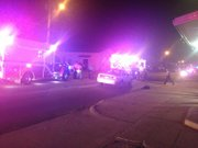 Emergency crews respond to a pedestrian-vehicle accident near the intersection of North Second and Lincoln Streets in North Lawrence.