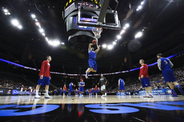 Kansas forward Perry Ellis gets up for a jam during the Jayhawks' practice on Thursday, March 22, 2013 at the Sprint Center in Kansas City, Mo.