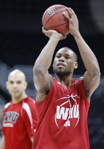 Western Kentucky forward George Fant puts up a shot during the Hilltoppers' practice on Thursday, March 22, 2013 at the Sprint Center in Kansas City, Mo.