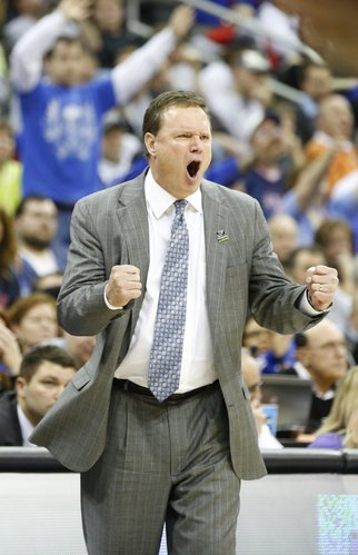 Kansas head coach Bill Self encourages toughness from his players down the stretch against Western Kentucky in the second half on Friday, March 22, 2013 at the Sprint Center in Kansas City, Mo.