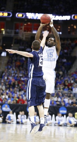 North Carolina guard P.J. Hairston pulls up for a three over Villanova guard Ryan Arcidiacono during the first half on Friday, March 22, 2013 at the Sprint Center in Kansas City, Mo.
