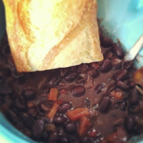 Made-from-scratch black bean soup was perfect as the SPRING snow came down.