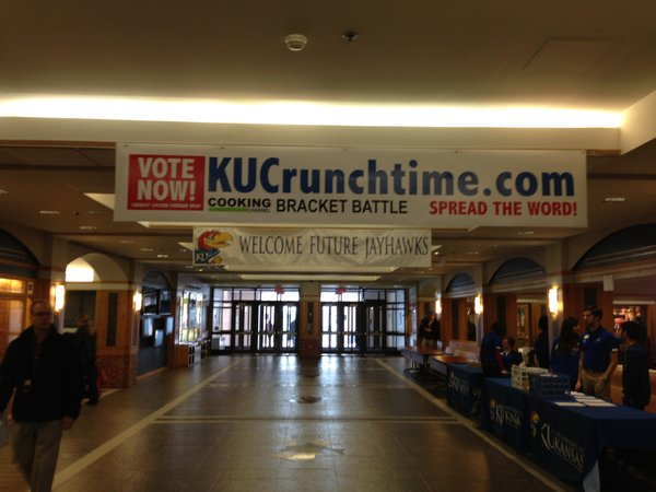 A banner on the fourth floor of the Kansas Union. Photo courtesy of KU Memorial Unions.