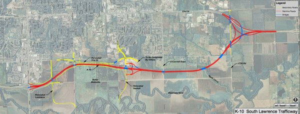 A map showing the route for the South Lawrence Trafficway. Courtesy: Kansas Department of Transportation.