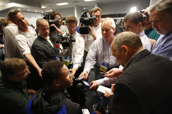 Kansas guard Ben McLemore takes questions from media members during a day of practices and press conference for teams in the South Regional at Cowboys Stadium in Arlington, Texas on Thursday, March 28, 2013.