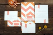 "All those little cards and envelopes in that wedding invitation you just received aren&squot;t just for looks, they hold many clues you can use to be a faux pas-free wedding guest. The ""Chevron Stripes"" wedding invitation suite from Ruff House Art of Lawrence includes the formal invitation, a response card and an accomodations card with additional information. Ruff House owner Jill Morrison says most brides she works with request all three components for their invitations."