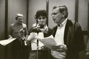 "Wayne Derx, Kate Taylor and Bill Kelly rehearse ""The Martian Crown Jewels,"" the first ""Imagination Workshop"" production (now known as ""Right Between the Ears"") for KANU 91.5 FM in 1983."