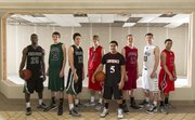 The Journal-World All-Area Boys Basketball Team, from left: Khadre Lane, Free State; Quinton Verhulst, De Soto; Cole Moreano, Free State; Alex Hasty, Ottawa; Justin Roberts, Lawrence; Andrew Ballock, Eudora; Nathan Stacy, Mill Valley; and Dallas Natt, Ottawa. Not pictured: Jake Mosiman, Lawrence High; player of the year Semi Ojeleye, Ottawa; and coach of the year Jon McKowen, Ottawa.