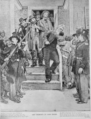 The last moments of John Brown are depicted in this 1885 drawing. The abolitionist, who had fought to make Kansas a free state, attempted to seize arms from the U.S. arsenal at Harper's Ferry, Va., to lead an insurrection to end slavery. He failed and was hanged as a criminal.