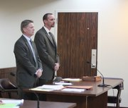 Former Franklin County Sheriff Jeff Curry, right, appears in court Monday with his attorney, Trey Pettlon. Curry and prosecutors entered into a diversion on two criminal charges he faced for lying to state investigators and tipping former Franklin County Attorney Heather Jones off to information that she was allegedly the subject of a drug investigation.