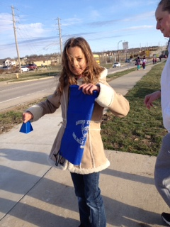 Jordan completes her 2nd marathon AND rings the bell for a fellow finisher!