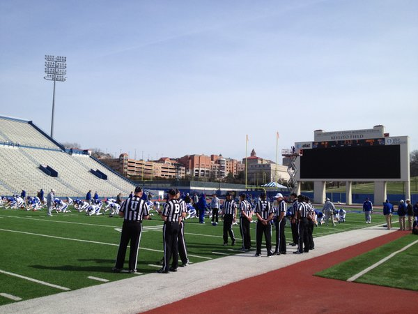 Tuesday&#39;s KU football practice was open to the media for the first time this spring. 