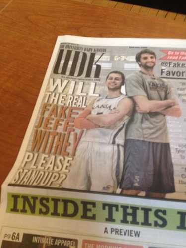 The front page of today's Daily Kansan, containing the big @FakeJeffWithey scoop.