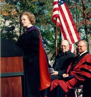 Former British Prime Minister Margaret Thatcher speaks at Baker University on Oct. 23, 1996, at the dedication of Osborne Chapel, which she attended as a child before it was relocated to Baldwin City, as, from left, chapel donor Robert Osborne and then-university president Daniel Lambert look on. Thatcher died Monday at the age of 87.