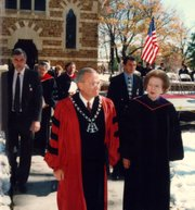 Former British Prime Minister Margaret Thatcher tours Baker University with its president at the time, Daniel Lambert, on Oct. 23, 1996, the day Osborne Chapel, which Thatcher attended as a child before it was relocated to Baldwin City, was dedicated. Thatcher died Monday at the age of 87.