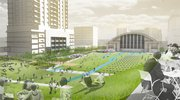This rendering shows the plan for the Downtown East neighborhood of Minneapolis, Minn., formed by Kansas University architecture student Lauren Brown and her four teammates for the Urban Land Institute's Gerald D. Hines Student Urban Design competition. Brown joined with three students from Kansas State University and one from the University of Missouri-Kansas City. The plans, focused around an old armory building (the structure with the arched roof) to be remade into an indoor market and public gathering spot, made their team one of four finalists in the national competition, out of 149 entrants.
