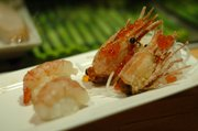 Ama ebi, or sweet raw shrimp, nigiri sushi at Yokohama, 811 New Hampshire St.