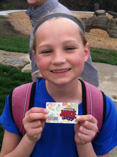 Tatum gets to reward herself with Juice Stop for finishing her 3rd marathon!