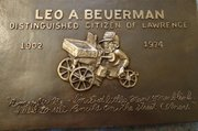 This renewed Leo Beuerman plaque will be rededicated during a noon ceremony Saturday outside Teller's Restaurant, 746 Massachusetts St.
