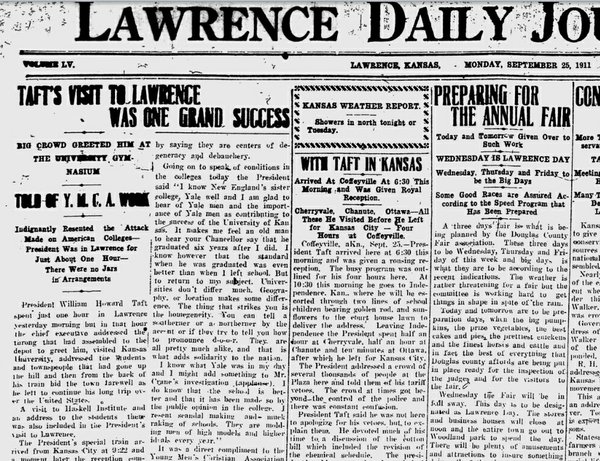 The Sept. 25, 1911, Lawrence Daily Journal, courtesy of Mike Reid