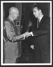 President Dwight Eisenhower greets then-Congressman Bob Dole in this 1961 photo from the Dole Archive. Dole took his first Congressional seat in January 1961, the same month Eisenhower's second presidential term ended. Eisenhower and the planned Washington, D.C., memorial for him will be the subject of the 2013 Dole Lecture at Kansas University's Dole Institute of Politics, to be given by retired Brig. Gen. Carl Reddel, executive director of the Eisenhower Memorial Commission.