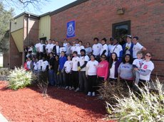 More than 40 volunteers from the University of Kansas volunteered at the Salvation Army on April 13. Barry Watts submitted the photo. 