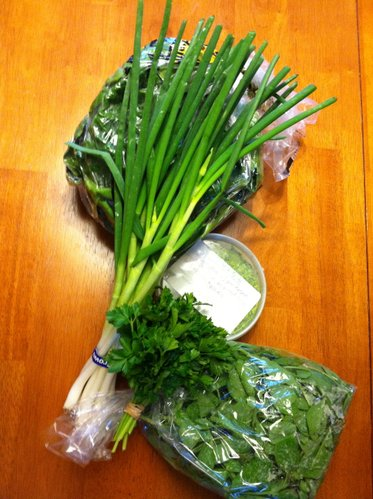 Our haul for April 22: green onions, spinach, pea greens, parsley and pesto.