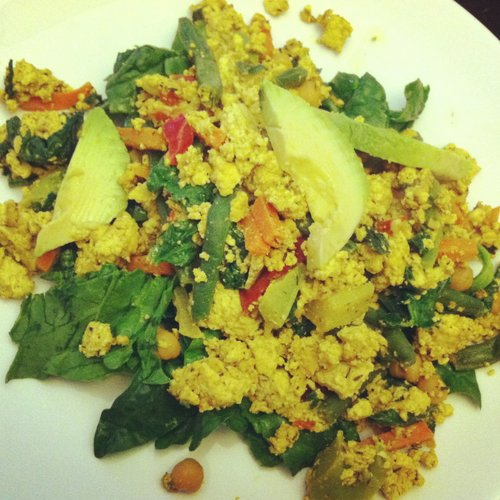 Tofu scramble over a bed of local spinach. Mmmmm.