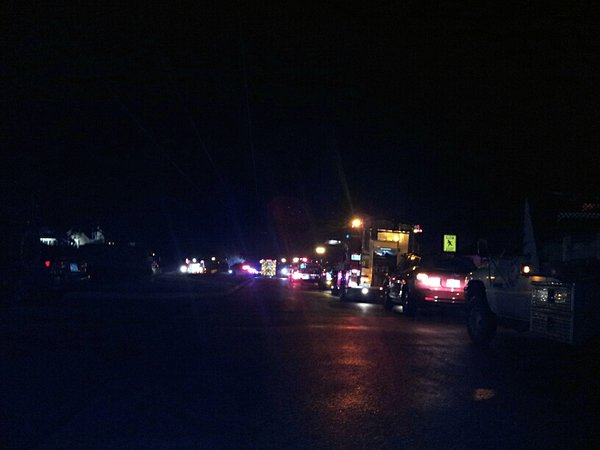 Emergency vehicles from the City of Eudora, Eudora Township and Wakarusa Township Departments line the street as crews work to extinguish the fire.  Photo submitted to Operation 100 News by Ashley Walker of Lawrence.