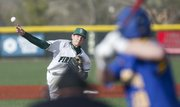 Free State pitcher Dane McCullough delivers to an Olathe South batter during the second inning, Wednesday, April 24, 2013 at Free State High School. Nick Krug/Journal-World Photo