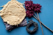 Dishcloths, flowers and a chunky bracelet, above, are some of the projects you can make using T-shirt yarn.