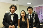 The Wakarusa Trio, from left, violist Shokhrukh Sadikov, pianist Kai Yin Crystal Lam and clarinetist Puyin Bai