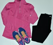 Comfort is key when picking out what to wear to the gym, but workout wear can still be fashionable. Pictured above: a lightweight pullover, spandex pants and a bright pair of Asics shoes.