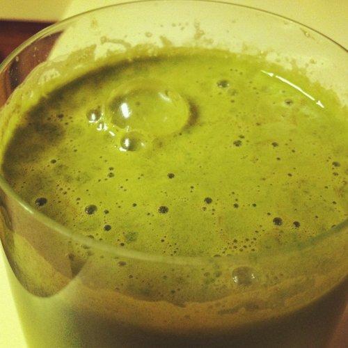 Greens, banana, water, vanilla protein powder, tumeric, vanilla.