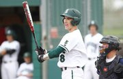 Free State batter Sam Hearnen gets himself together before stepping up to the plate during the second inning against Blue Valley North on Wednesday, May 1, 2013 at Free State High School. Nick Krug/Journal-World Photo