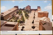 A photo taken of a model of the Eisenhower memorial shows an urban park surrounded by a number of different agencies that Dwight Eisenhower helped create. Members of Eisenhower's family and others want a simpler design.