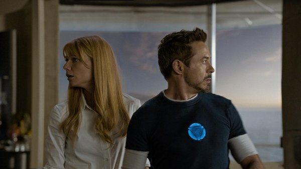 "Robert Downey Jr. and Gwenyth Paltrow in the action-filled romantic comedy ""Iron Man 3."""