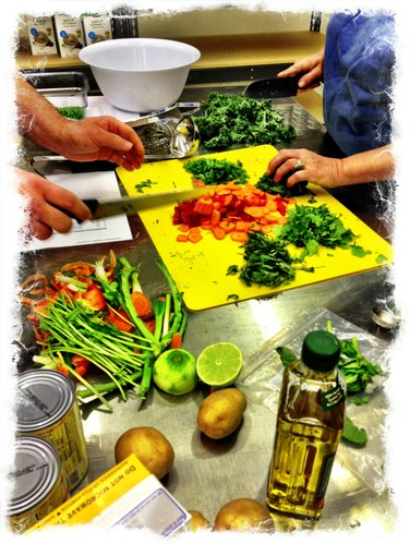 Chopping some fresh veggies.