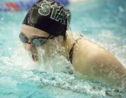 Free State sophomore Kat LaFever competes in the finals of the 100-yard breaststroke at the Sunflower League Championships held Saturday, May 4, 2013, in Olathe.
