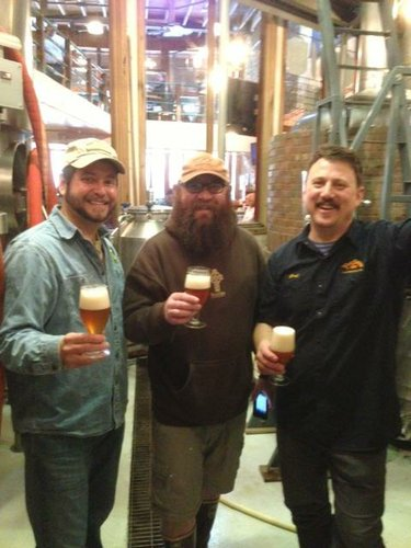 "John Dean of Blind Tiger Brewery (left), Bryan ""Bucky"" Buckingham of 23rd Street Brewery and Geoff Deman of Free State Brewery after a day of brewing in Topeka. Photo from www.facebook.com/TheBlindTigerBreweryandRestaurant"