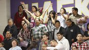 Family members and friends of graduates watch graduation ceremonies during Haskell Indian Nations University 2013 Spring Commencement Friday, May 10, 2013 at the school's Coffin Sports Complex.