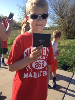 Jared completes his 3rd marathon of the school year. Woo hoo!!