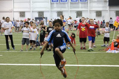 Jump Rope Relays was one of 10 activity stations for students at Kansas Kids Fitness Day.