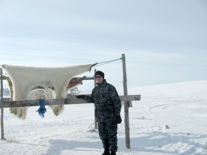 Andrew Stull, environmental health specialist for the Lawrence-Douglas County Health Department, is pictured outside of Point Hope, Alaska, where he provided environmental assessments as part of humanitarian mission trip. He said most of the people who live there are hunters because food is so expensive.