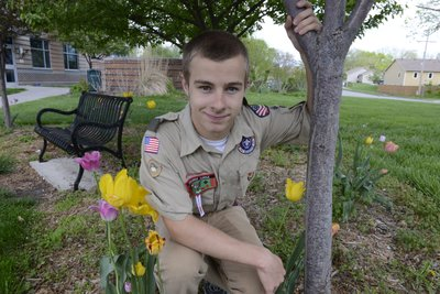 To earn his Eagle Scout community service merit badge, Jake Keary, who will be a junior at Free State High School, replaced the Sandra Shaw Memorial Bench and planted flowers on the grounds of the Bert Nash Center, where his mom is a clinician.